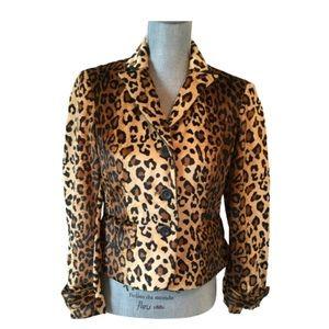 A Line Leopard Print Blazer